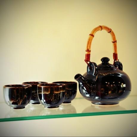 Service à thé vernis noir